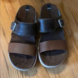 Merrell two tone leather sandals size 6